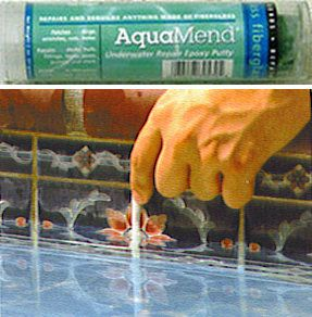 Pool Putty Repair Fix Leaks Stop 2 part Epoxy White in water use