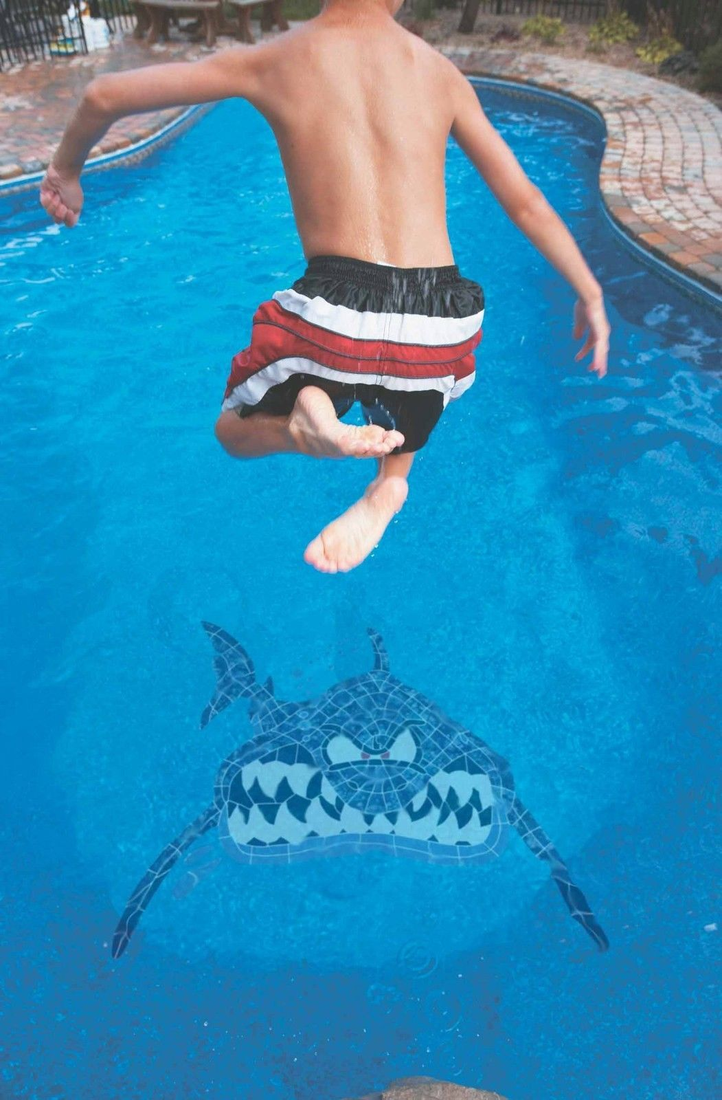 Seasons Pool Shark Shark Hammerhead Ceramic Mosaic